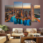 Dubai UAE Cityscape Skyscraper Buildings Framed 4 Piece Canvas Wall Art Painting Wallpaper Poster Picture Print Photo Decor