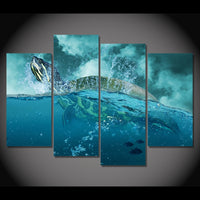 Sea Turtle Ocean Swimming Framed 4 Piece Canvas Wall Art Painting Wallpaper Poster Picture Print Photo Decor