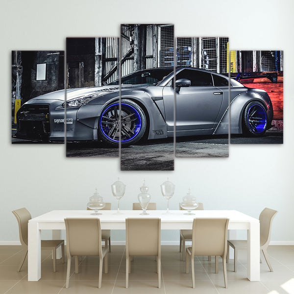 NISSAN GTR R35 Sports Car 5 Piece Canvas Wall Art - 5 Panel Canvas Wall Art - FabTastic.Co