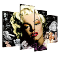 Marilyn Monroe Hollywood Celebrity Movie Actress Framed 4 Piece Canvas Wall Art Painting Wallpaper Decor Poster Picture Print