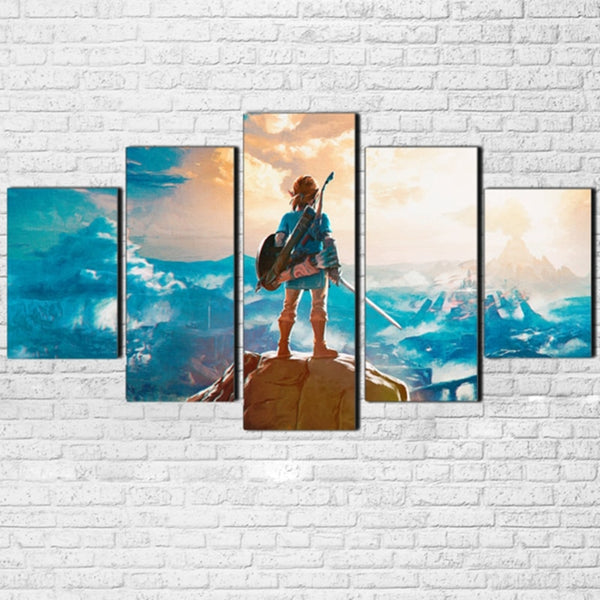 Legend Of Zelda Cartoon Game Framed 5 Piece Canvas Wall Art Painting Wallpaper Poster Picture Print Photo Decor