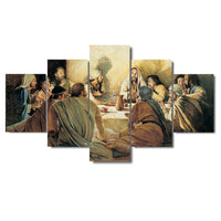 Jesus Christ & Apostles Last Supper Framed 5 Piece Canvas Wall Art Painting Poster Picture Print Photo Artwork Decor