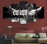 Conquer Arnold Schwarzenegger Sports Framed 5 Piece Canvas Wall Art - 5 Panel Canvas Wall Art - FabTastic.Co