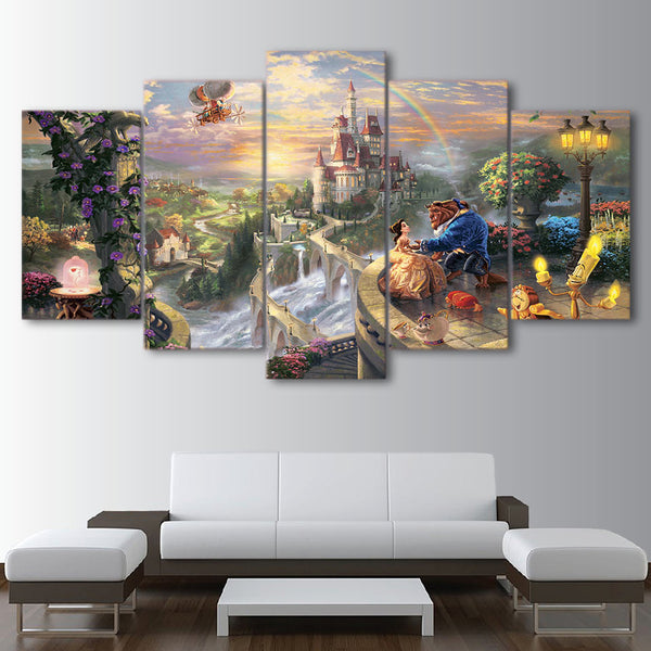 Beauty & The Beast Disney Cartoon Castle Framed 5 Piece Canvas Wall Art - 5 Panel Canvas Wall Art - FabTastic.Co