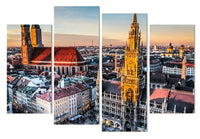 Munich Germany European Bavaria Cityscape Framed 4 Piece Canvas Wall Art Painting Wallpaper Poster Picture Print Photo Decor