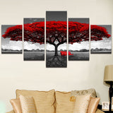 Vibrant Red Tree & Bench In Black & White 5 Piece Canvas Wall Art - 5 Panel Canvas Wall Art - FabTastic.Co