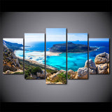 Beautiful Blue Sea Island & Rocky Beach 5 Piece Canvas Wall Art - 5 Panel Canvas Wall Art - FabTastic.Co