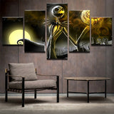 Halloween Nightmare Before Christmas Framed 5 Piece Canvas Movie Wall Art Painting Wallpaper Poster Picture Print Photo Decor
