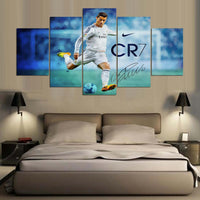 Real Madrid Ronaldo Soccer Football Sports Framed 5 Piece Panel Canvas Wall Art Print