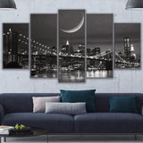 New York City Night Skyline Brooklyn Bridge NYC Moonscape Framed 5 Piece Canvas Wall Art - 5 Panel Canvas Wall Art - FabTastic.Co