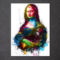 Colorful Mona Lisa Modern Abstract Framed 1 Panel Piece Canvas Wall Art Painting Wallpaper Poster Picture Print Photo Decor