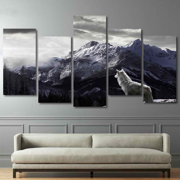 Snowy Mountain Plateau Wolf Paintings Framed 5 Piece Canvas Wall Art - 5 Panel Canvas Wall Art - FabTastic.Co