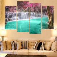 Beautiful Natural Waterfall Framed 4 Piece Canvas Wall Art Painting Wallpaper Poster Picture Print Photo Decor
