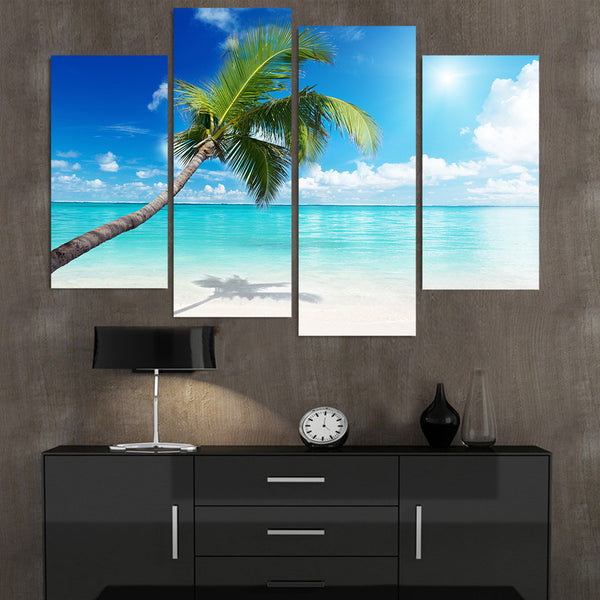 Tropical Beach Palm Tree Ocean Seascape Framed 4 Piece Canvas Wall Art Painting Wallpaper Poster Picture Print Photo Decor