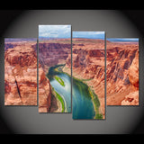 Grand Canyon River Arizona USA Valley Framed 4 Piece Canvas Wall Art Painting Wallpaper Poster Picture Print Photo Decor