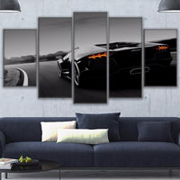 Black Luxury Lamborghini Sports Car Framed 5 Piece Canvas Wall Art - 5 Panel Canvas Wall Art - FabTastic.Co