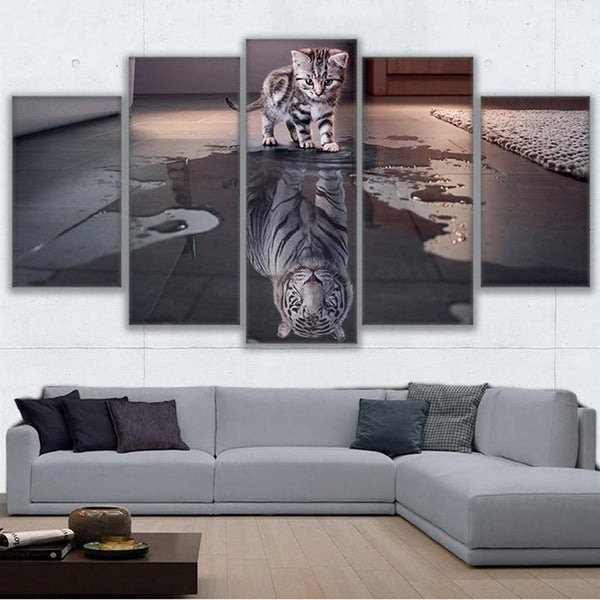 Kitten Cat Tiger Reflection On Water Framed 5 Piece Panel Canvas Wall Art Print - 5 Panel Canvas Wall Art - FabTastic.Co