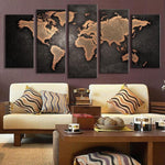 Retro World Map 5 Piece Canvas Wall Art - 5 Panel Canvas Wall Art - FabTastic.Co