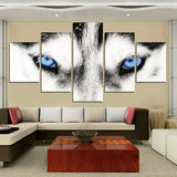 Black & White Wolf Animal Eyes Framed 5 Piece Panel Canvas Wall Art Wolves Print - 5 Panel Canvas Wall Art - FabTastic.Co