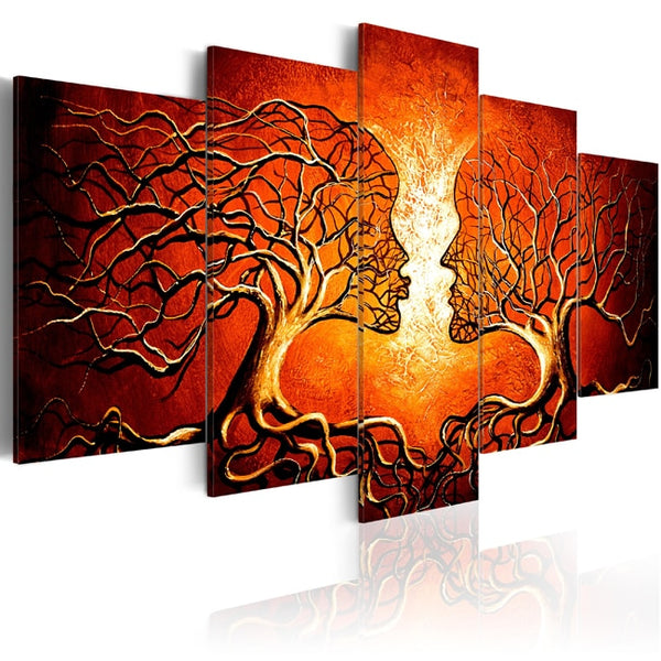 Red Color Tree Human Branches Framed 5 Piece Canvas Wall Art - 5 Panel Canvas Wall Art - FabTastic.Co