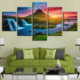 Beautiful Panoramic Iceland Waterfall, Mountain & River Scenic Landscape 5 Piece Canvas Wall Art - 5 Panel Canvas Wall Art - FabTastic.Co