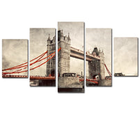 London River Thames Framed 5 Piece Panel Canvas Wall Art Print