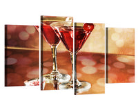 Martini Alcohol Drink Bar Restaurant Framed 4 Piece Canvas Wall Art Painting Wallpaper Poster Picture Print Photo Decor