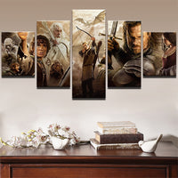 Lord Of The Rings Movie Characters Framed 5 Piece Panel Canvas Wall Art Print