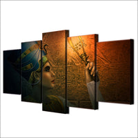 Queen of Egypt Framed 5 Piece Egyptian Hieroglyph Canvas Wall Art Painting Wallpaper Poster Picture Print Photo Decor