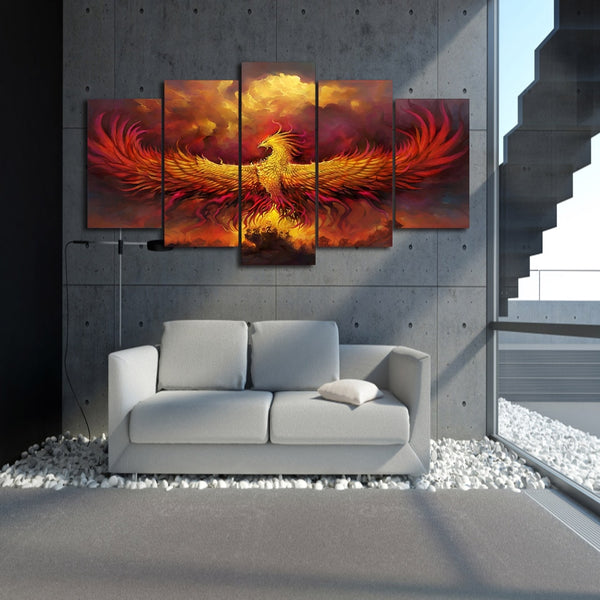 Phoenix Bird Rising Flames Framed 5 Piece Canvas Wall Art Painting Wallpaper Poster Picture Print Photo Decor