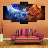 Fire & Ice Love Red & Blue Framed 5 Piece Panel Canvas Wall Art Print