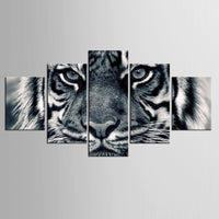 Tiger Animal Black & White Framed 5 Piece Canvas Wall Art - 5 Panel Canvas Wall Art - FabTastic.Co