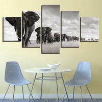 Elephant Herd Black & White Animal Framed 5 Piece Canvas Wall Art - 5 Panel Canvas Wall Art - FabTastic.Co