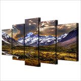 Sky Ice & Cloudy Mountain Grassland Framed 5 Piece Canvas Wall Art - 5 Panel Canvas Wall Art - FabTastic.Co