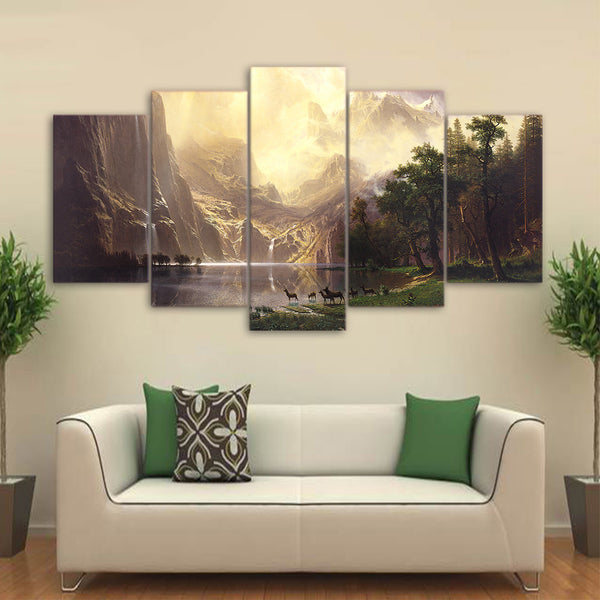Beautiful Natural Mountain Lake Forest Deer Animal Framed 5 Piece Panel Canvas Wall Art Print