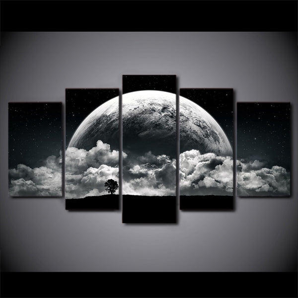 Planet & Clouds Black & White Framed 5 Piece Canvas Wall Art - 5 Panel Canvas Wall Art - FabTastic.Co
