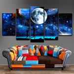 Rick And Morty Starry Sky Moon & Space Framed 5 Piece Canvas Wall Art - 5 Panel Canvas Wall Art - FabTastic.Co
