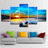 Sunrise Seaview Sunset Water Rocks Framed 5 Piece Panel Canvas Wall Art Print