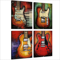 Music Musician Electric Guitar Instrument Framed 4 Piece Canvas Wall Art Painting Wallpaper Decor Poster Picture Print