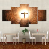 Glowing Cross In Light Tunnel Framed 5 Piece Canvas Wall Art - 5 Panel Canvas Wall Art - FabTastic.Co