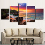 Beautiful Sunrise Rocky Ocean Beach & Clouds 5 Piece Canvas Wall Art - 5 Panel Canvas Wall Art - FabTastic.Co