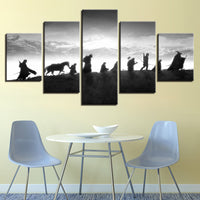 Lord Of The Rings Characters On Mountian Framed 5 Piece Canvas Wall Art Painting Wallpaper Poster Picture Print Photo Decor