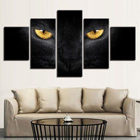 Black Cat With Yellow Eyes Framed 5 Piece Canvas Wall Art - 5 Panel Canvas Wall Art - FabTastic.Co