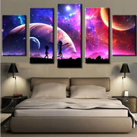Rick & Morty Space Universe Galaxy Stars Framed 5 Piece Canvas