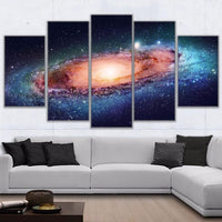 Outer Space Galaxy Stars & Universe Framed 5 Piece Canvas Wall Art - 5 Panel Canvas Wall Art - FabTastic.Co