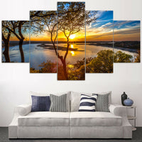 Beautiful Sunrise Sunset River & Trees Forest Framed 5 Piece Panel Canvas Wall Art Print - 5 Panel Canvas Wall Art - FabTastic.Co