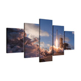 Falcon 9 Space Rocket Taking Off On Launch Framed 5 Piece Panel Canvas Wall Art