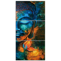 Colorful Buddhist Abstract Zen Buddha Face Framed 3 Piece Buddhism Canvas Wall Art Painting Wallpaper Decor Poster Picture Print