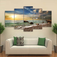 Beautiful Sunset Flying Bird On Rocky Sandy Beach Waves At Sunrise With Clouds Framed 5 Piece Canvas Wall Art - 5 Panel Canvas Wall Art - FabTastic.Co