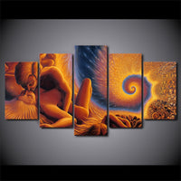 Immortal Fibonacci Love Spiral Of Time & Space Framed 5 Piece Canvas Abstract Wall Art Painting Wallpaper Poster Picture Print Photo Decor